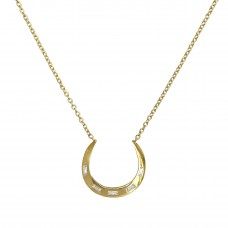 arc baguette diamond necklace