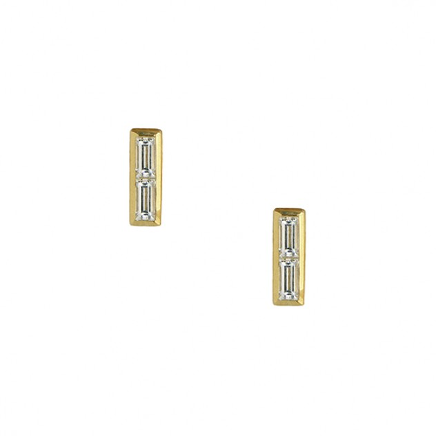 duality baguette diamond earrings